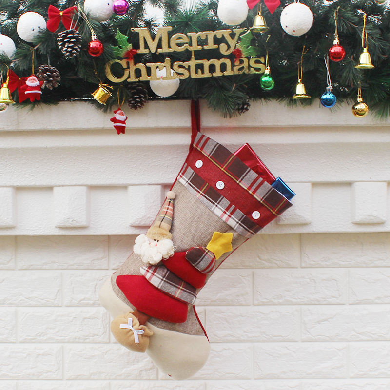 aliexpresscom buy 3d creative christmas stocking decoration ornaments cartoon santa claus snowman socks christmas decorations for home fireplace from