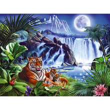 Tiger waterfall diamond Embroidery diy painting mosaic diamant 3d cross stitch pictures H500