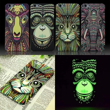 Brand Animals Lion Wolf Owl Pattern Hard Back Phone Case For iPhone 7 6 6s Plus 5 5s Glow In The Dark Luminous Forest King Case