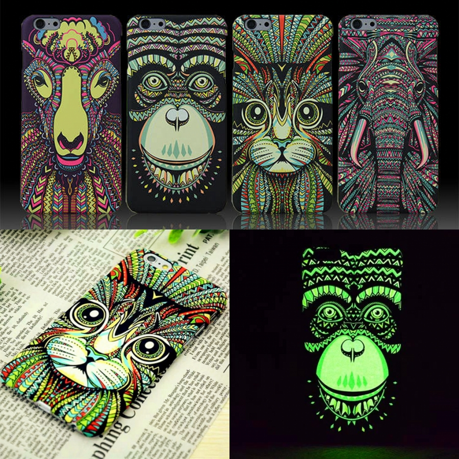 Funda de teléfono con diseño de animales, lobo, búho, tapa dura para iPhone X 8 7 6 6s Plus 5 5s Estuche brillante del bosque Glow In The Dark Luminous Forest