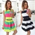 Del color del caramelo de 2016 nuevas mujeres del verano sexry dress una línea de rayas de lujo dress pink party dress celebrity envío de la gota al por mayor