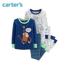 Carter s 4 Piece Monkey Snug Fit Cotton PJs Cute cartoon print long sleeve soft boys