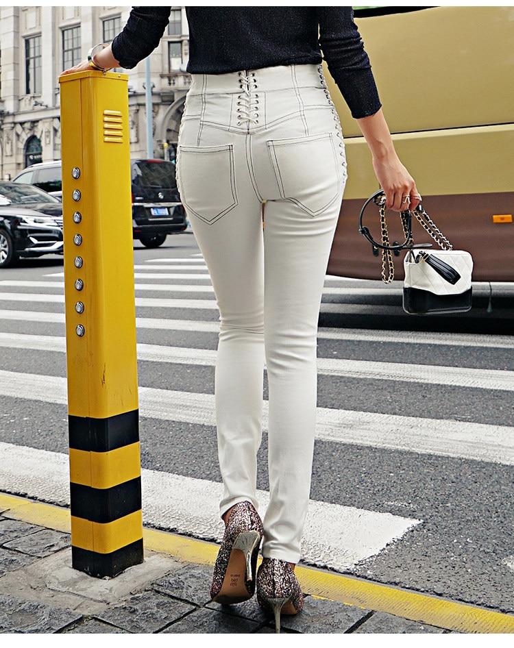 2019 Pour Long Printemps Denim Mode Fit Pantalon Crayon Slim Femmes À De Lacets Les Blanc Taille Côtés Haute Jeans FFqwraApW