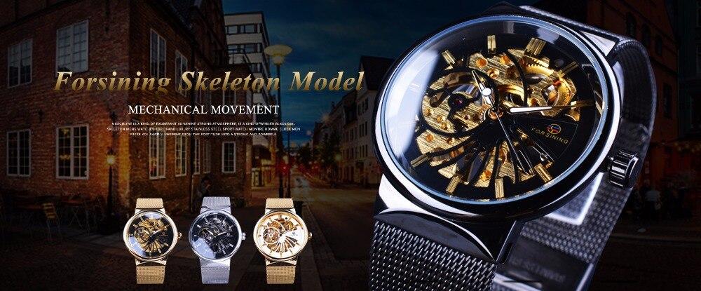 Forsining Transparent Case Open Work Silver Stainless Steel Mechanical Skeleton Sport Wrist Watch Men Top Brand Luxury Men Clock