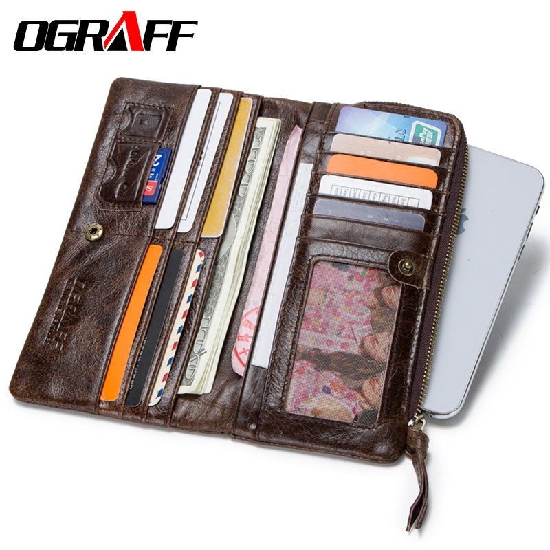 OGRAFF Genuine Leather Wallet Men Coin Purse Clutch Male Wallet Long Phone Wallet Cardholder Credit Card Holder Money Bag Walet ograff genuine leather men wallet clutch male wallets business card holder coin purse mens luxury wallet men s passport package