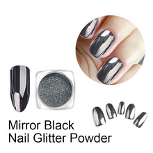 1 Bottle Black Mirror Nail Glitter Powder Gun Metal Color Dazzling Shining Chrome Pigment Dust Paillettes Nail Art Decorations(China)
