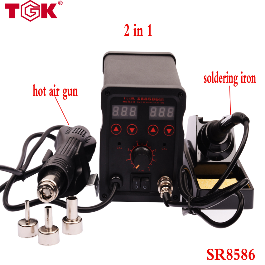 SR8586 220V 2in1  Rework Station and Soldering Station Hot Air Gun + Electric Solder Iron CE CCC ROHS high quality  power tools 1pcs yl765 40w electric soldering iron soldering high quality heating diy tool parts lightweight soldering gun hot welding