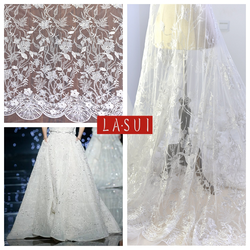 LASUI shine Embroidery Lace Mesh Gauze off white Sequin Wedding ...