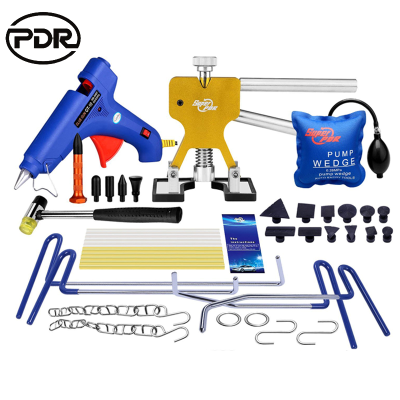 PDR Tools Car Dent Repair Kit Tool To Remove Dents Hooks Push Rods Door Dings Hail Repair Paintless Dent Repair Tool Kit professional repair tool kit for car audio system dashboard door plank layering 4 piece