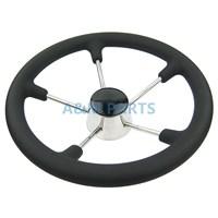 13 1 2 Inch Destroyer Marine Steering Wheel 5 Spoke With Black Foam Grip Boat Steering