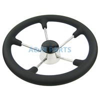 13 1 2 Inch Destroyer Marine Steering Wheel 5 Spoke With Black Foam Grip Boat Steering