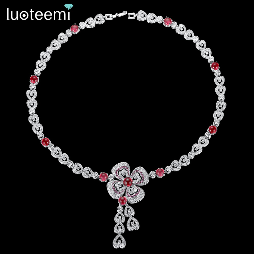 LUOTEEMI New Flower Pendant Necklace for Women Luxury CZ Jewelry for Wedding Party Red Plum Blossom collar mujer Christmas Gift-in Pendant Necklaces from Jewelry & Accessories    1