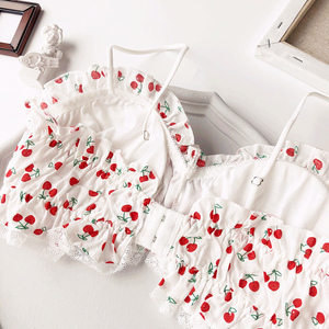 Image 2 - Wriufred Cherry Printed Cotton Girl Heart Student Bra Set Wire Free Soft Cup Underwear Big Gathered Tube Top Lingerie Sets