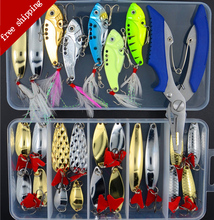 Fishing Lures Set Mixed Metal Spoon Lure Kit VIB Sequins Shrimp Lure Plier In Storage Box Soft Lure Minnow Fishing Tackle ER004 fishing lure kit 169 pcs pack minnow popper crank spinner metal lure spoon swivel soft bait set combo tackle accessory box