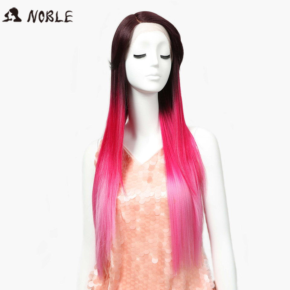 Noble Wigs Straight New Lace Front Wig Synthetic Hair 30 Ombre Pink Color Heat Resistant ...