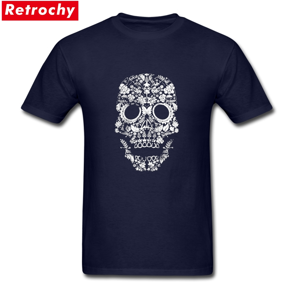 Day of the Dead skull Merchandise T-Shirt Short Sleeved Mens skull shirts for guys Organic Cotton Big Size T Shirt