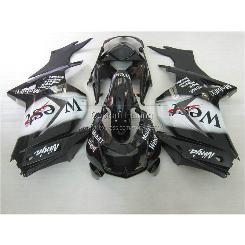 Injection mold plastic Fairing kit for Kawasaki ninja 250r 2008-2014 EX250 08 09 10 11 12 13 14 white black West fairings RR21
