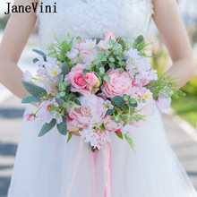 JaneVini Romantic Pink Bouquet Fleurs Wedding Bouquets Summer Artificial Silk Roses Bridal Fake Flower Ramos De Flores Para Boda(China)