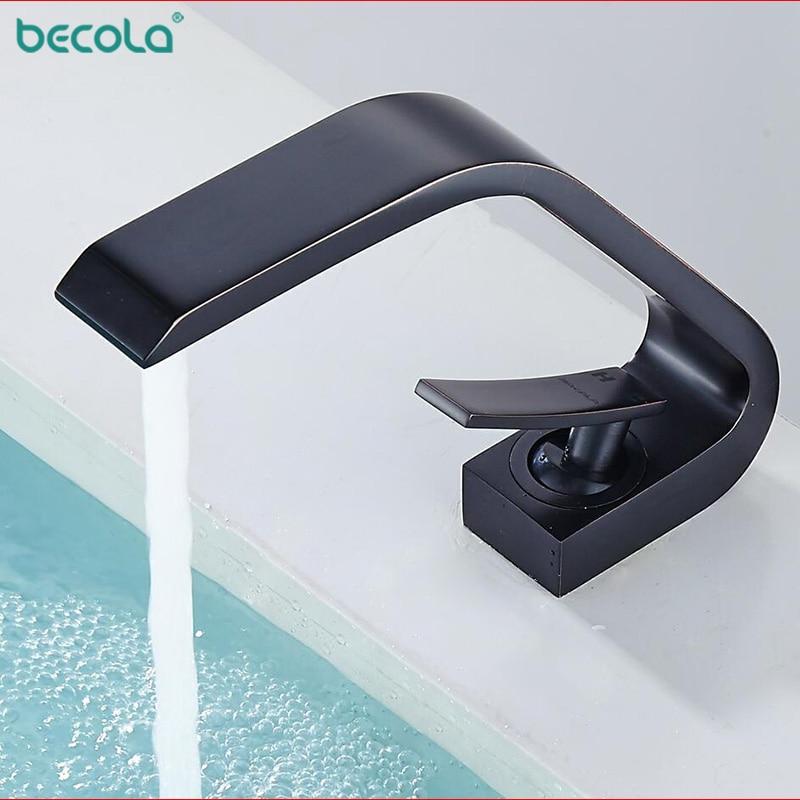 BECOLA Modern Fashion Brass Basin Faucet Black Bathroom copper Basin Faucet Hot Cold Tap Water Basin
