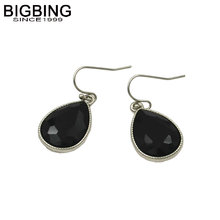 BIGBING jewelry Fashion silver black crystal drop earring fashion earring high quality nickel free free shipping M023(China)