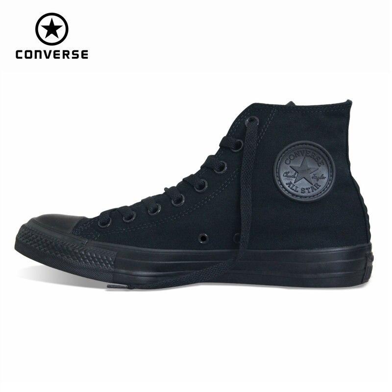 €65.57 35% de réduction|Original Converse all star chaussures hommes femmes  baskets toile chaussures tout noir haute classique chaussures de skate ...