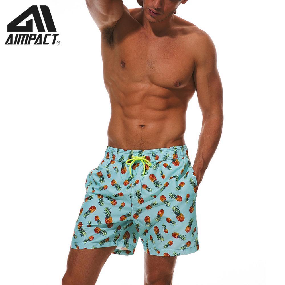 Cute Little Cat Unicorn Mens Fashion Beach Swim Trunks Quick Dry Board Shorts with Mesh Lining