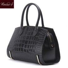 Mode Frauen Taschen Aus Echtem Leder Handtaschen Alligator Hochwertigen Reißverschluss Design Schwarz Rot Dame Büro Taschen