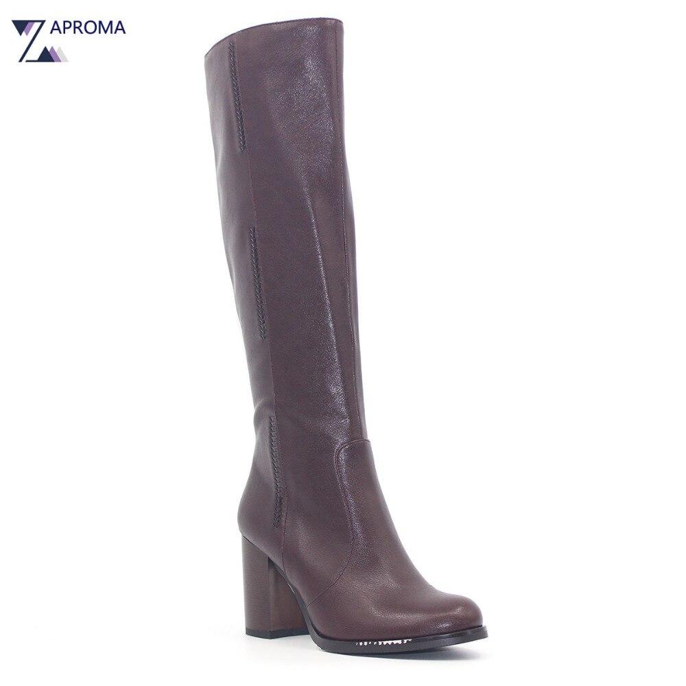 Basic Brown Winter Super High Heel Boots font b Women b font Knee High Chunky Heel