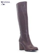 Basic Brown Winter Super High Heel Boots Women Knee High Chunky Heel Sewing Designer Shoes Female Fall Boot Ladies 2018 Zipper