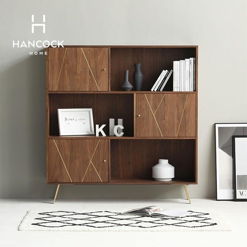 140cm High Cabinet with Metal Feet / Plywood with Walnut Veneer / Brass Strip Decor 140cm High Cabinet with Metal Feet / Plywood with Walnut Veneer / Brass Strip Decor