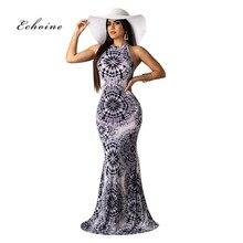 Echoine Women Summer Beach Dress Bohemia Halter Sexy Mixi Slim Hollow Out Sleeveless Floor-Length Female Clothes Long Vestidos