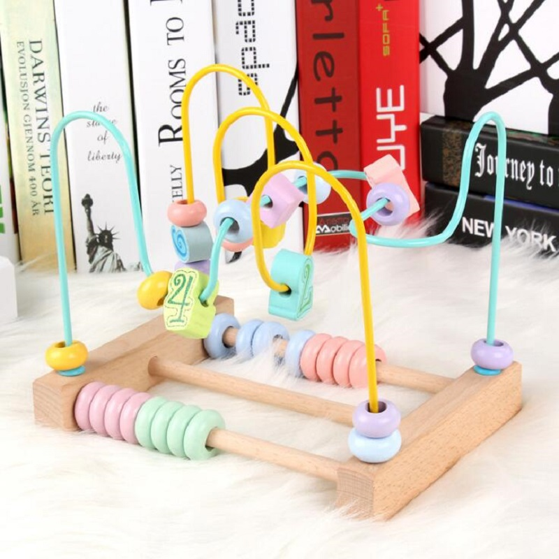 Fly AC Wooden Beads Digital Educational Toys For Toddler Kids Baby, Around Circle Bead Skill Improvement Wood Toys Gift
