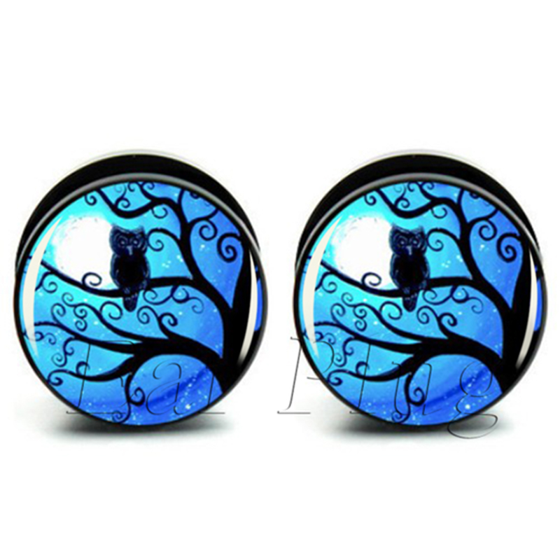 BN!Fashion Night Owl black acrylic screw flesh tunnel ear plug gauges ear expander body jewelry 10 sizes 6mm-25mm A0063