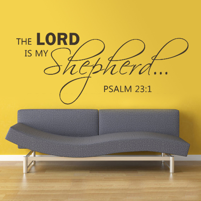 """The Lord Is My Shepherd Wall Decal Psalm 23:1 - Bible Scripture Religious Vinyl Wall Decal  13"""" x 34"""" S"""