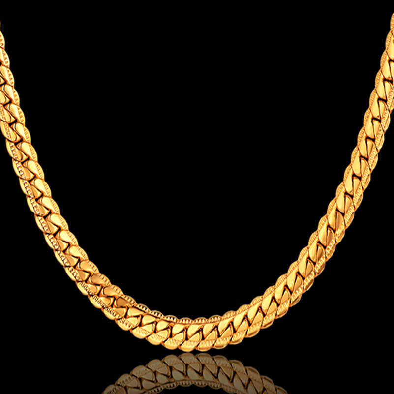 4 Size Antique Snake Chain Necklace Men Jewelry Wholesale,7MM Casual Retro Chains Gold Color Man Chain For Men ketting collares
