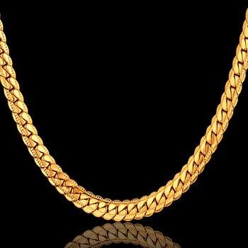 Collar de cadena de serpiente antiguo de 4 tamaños, joyería de hombre al por mayor, cadena de hombre de Color dorado Retro informal de 7mm para collar Vintage de hombre