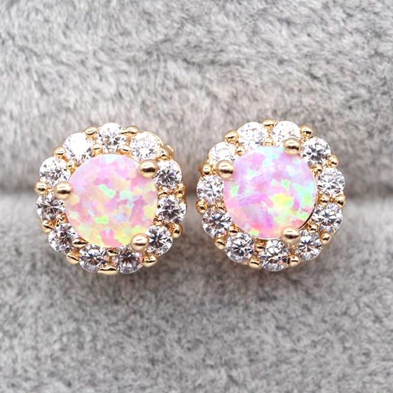 JINYAO Beautiful Charm Pink Fire Opal Champagne Gold Color AAA Zircon Round Stud Earring For Women
