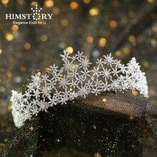 Luxury Micro Paved Full Cubic Zircon Tiara Snowflake Zirconia Crown CZ Diadema  Novia Bridal Headpiece Wedding Hair Accessories