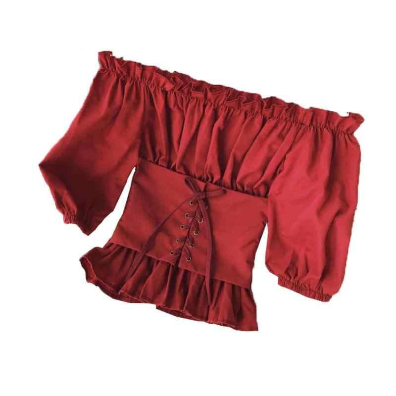 2019 estate nuovo sexy slash collo delle donne volant camicetta a maniche lunghe di pizzo up sottile della signora night club shirt outwear top