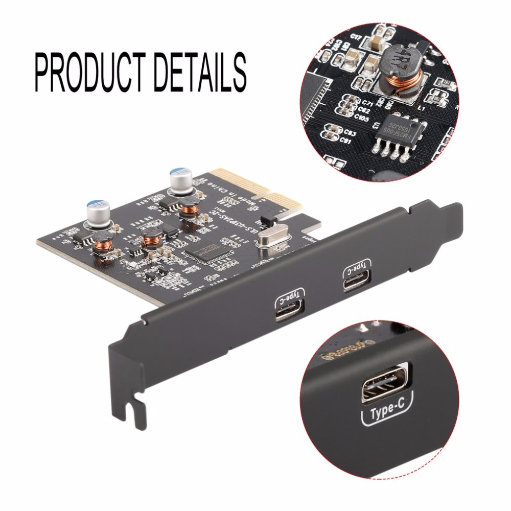 2 Type C Ports USB 3.1 (10Gbps) PCI-E PCI Express Card Expansion Card Host Card Hub Controller for Desktops Speed Up to 10Gbps купить в Москве 2019