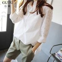 GUTU 2018 Spring Summer New Pattern Stitching Lace Full Sleeve Irregular Hem White Lasides Fashion