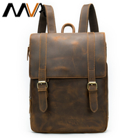 MVA Multifunctional Men's Backpack Anti Theft Crazy Horse Leather Bag for Men Travel Male Large Capacity Teenager Laptop Bag 058
