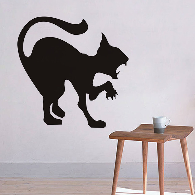 Scary Black Cat Wall Sticker Halloween Decoration Hissing Cat Vinyl Decal Wall  Art, Angry Cat