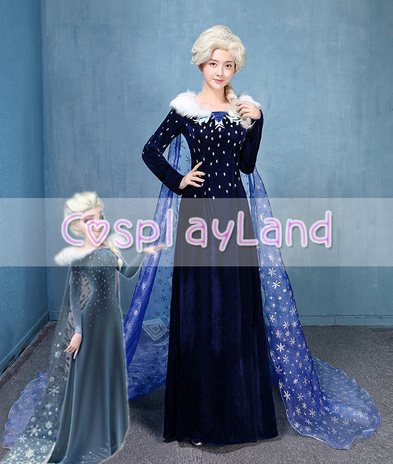 2018 Olaf's Adventure Princess Elsa Cosplay Costume Adult Women Christmas Winter Elsa Dress Queen Carnival Halloween Costume