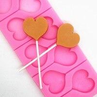 8 cavità Amore a forma di cuore Lollipop Muffa Del Cioccolato Della Muffa Della Torta Del Silicone Stampo Decorativo