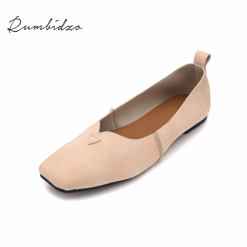 Rumbidzo Women Flats 2018 Fashion Woman Ballet Flats Soft Sole Round Toe Summer Flat Heels Shoes Woman Casual Slip On Zapatos chinese women flats shoes flowers casual embroidery soft sole cloth dance ballet flat shoes woman breathable zapatos mujer