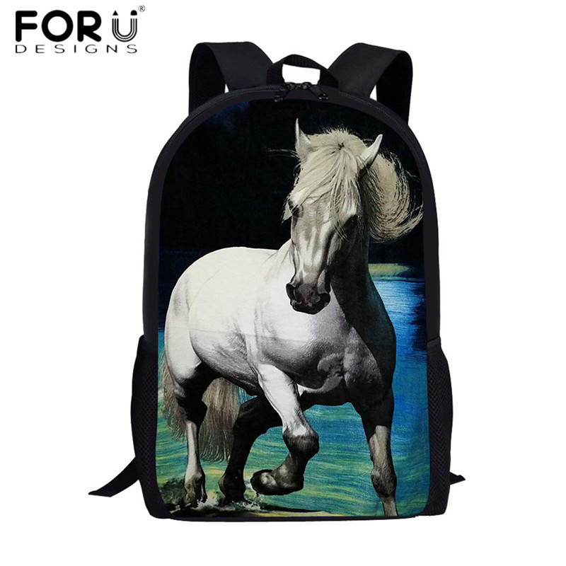 FORUDESIGNS New Fashion School Bags Backpacks Teen Boys Girls Cool Schoolbags White Horse Brazilian Printed Bookbags Pencil Case(China)