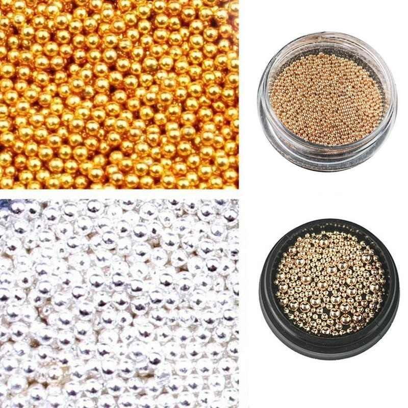 0.8mm 3D métal Micro perles en acier inoxydable ongles Art Caviar perles pour ongles Rose or argent ongles perles décoration goujons