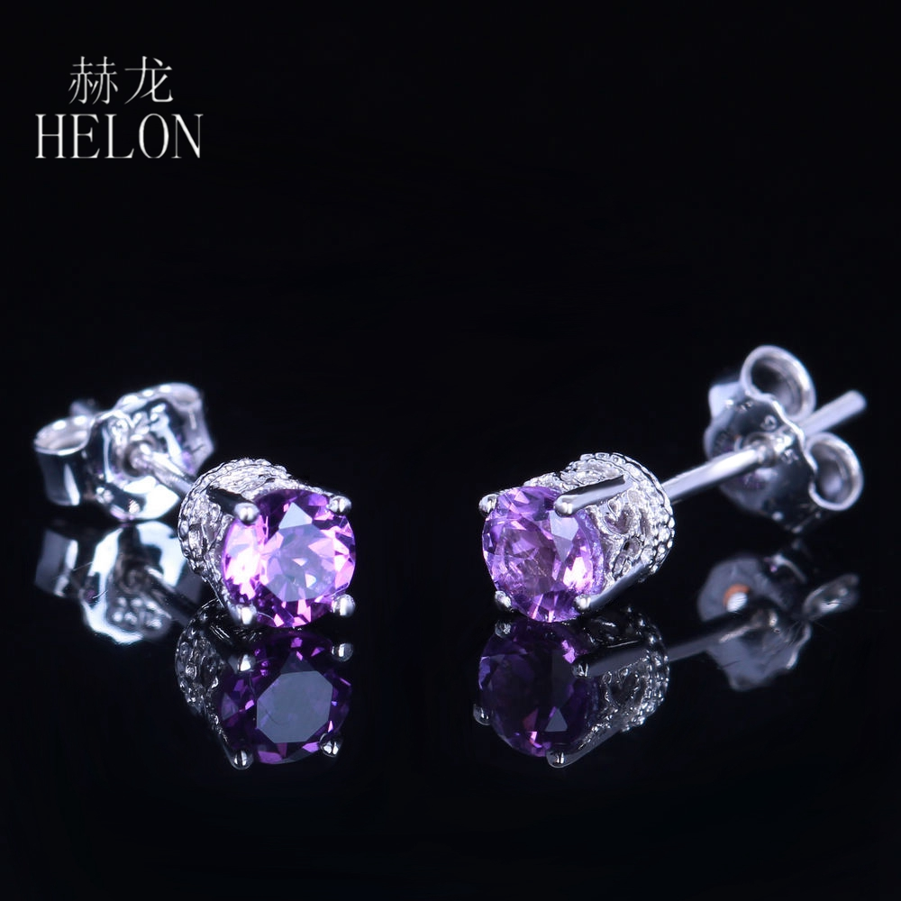 HELON Art Deco Amethyst Stud Earrings Solid 14K White Gold Natural 4mm Round Amethyst Wedding Fashion