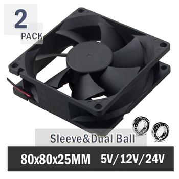 2PCS Gdstime Ball 80MM 8CM 8025 Computer Case Fan 80x80x25mm Cooling Fan 5V 12V 24V 48V PC Laotop Cooling Cooler 2PIN 3PIN 4PIN pc computer fan case cooling fan unit fan 8025 8cm with led lights chassis fan 80 80 25